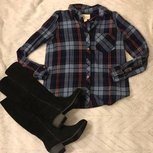 Forever 21 plaid checked flannel shirt button down